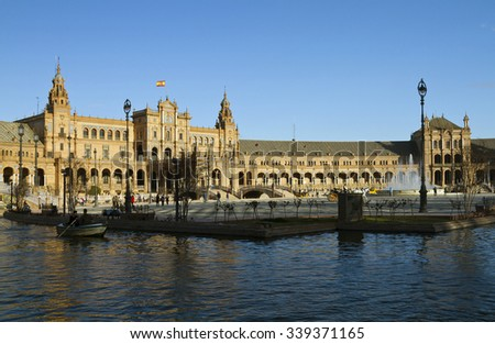 Plaza de Espana is a landmark example of the Renaissance Revival style in Spanish architecture. - stock photo