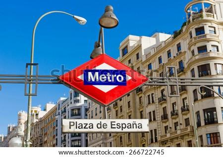 Plaza de Espana metro station in Madrid. Metro de Madrid plaque and symbol - stock photo