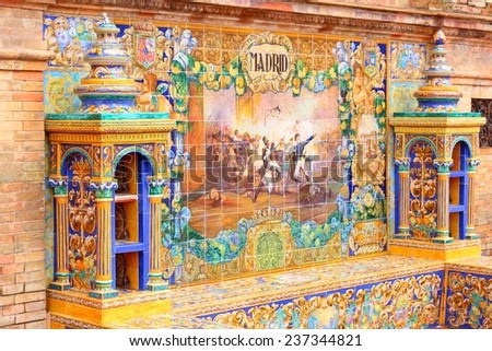 Plaza de Espana, Sevilla, Spain - famous old decorative ceramics alcove. Madrid theme. - stock photo