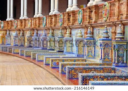 Plaza de Espana, Sevilla, Spain - famous old decorative ceramics alcoves. - stock photo