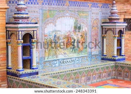 Plaza de Espana, Seville, Spain - old decorative ceramics alcove dating back to year 1928. Granada theme. - stock photo