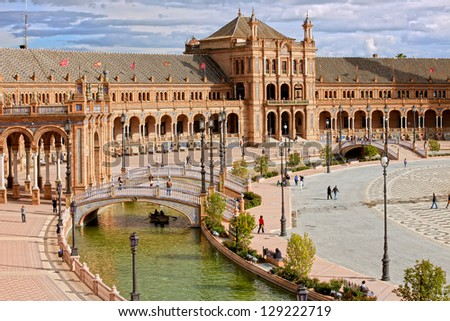 Plaza de Espana (Spain's Square) in Seville, Spain, Renaissance Revival architectural style.