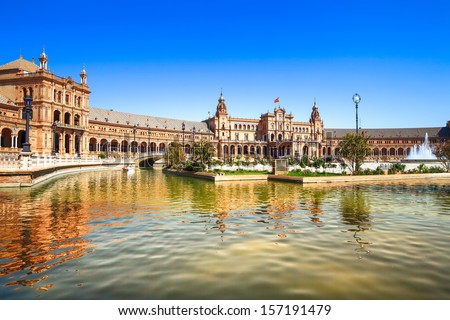 Plaza de espana (spain square) Seville, Andalusia, Spain, Europe. Traditional bridge detail. - stock photo