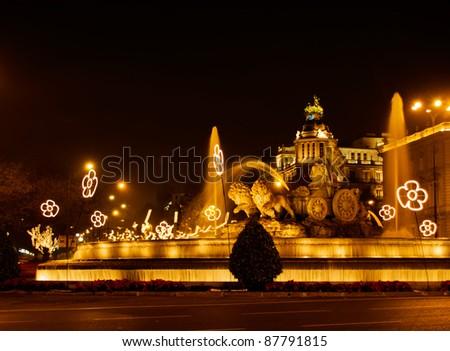 Plaza de la Cibeles (square of Cibela) at night, Madrid, Spain - stock photo
