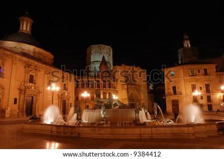 Plaza de la Virgen in Valencia, Spain - stock photo