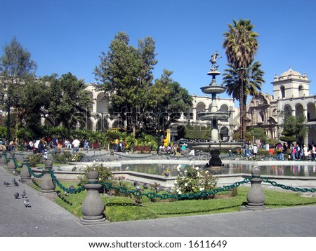 Plaza de las Armas in Arequipa, Peru - stock photo