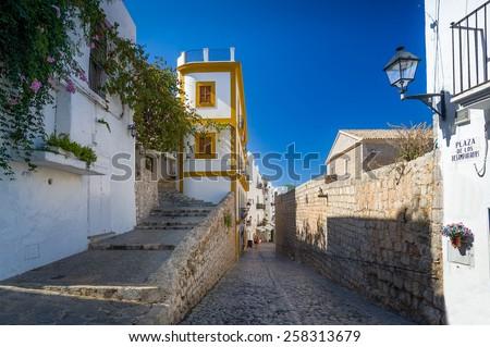 Plaza de Los Desamparados. Eivissa old town, Spain - stock photo