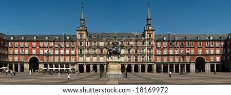 Plaza Mayor frontal shot panorama - stock photo