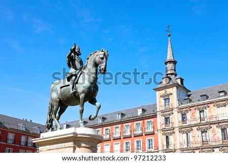 Plaza Mayor in Madrid with equestrian statue of Felipe III