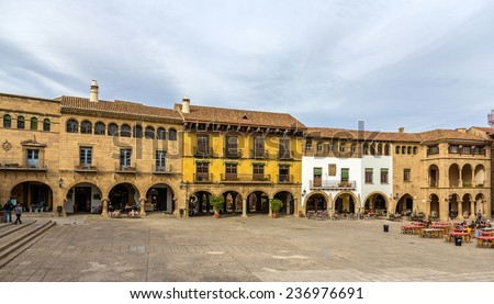 Plaza Mayor in Poble Espanyol - Barcelona - stock photo