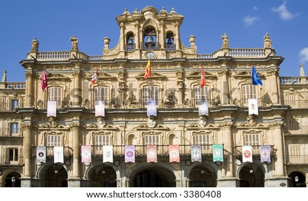Plaza Mayor in Salamanca.  View of the town hall building (Ayunamiento).  Dates from the beginning of the 18th century, is the central square of the city. - stock photo