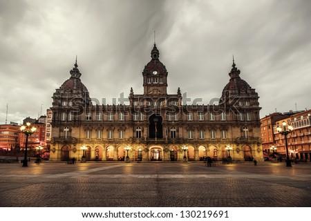 Plaza Mayor (Main square) of La Coruna, Galicia, Spain - stock photo
