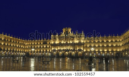 Plaza mayor, Salamanca, Spain at night with long exposure