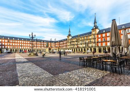 Plaza Mayor with statue of King Philips III in Madrid, Spain. - stock photo