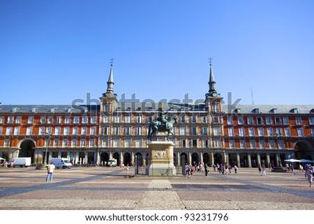 Plaza Mayor with statue of King Philips III in Madrid, Spain - stock photo
