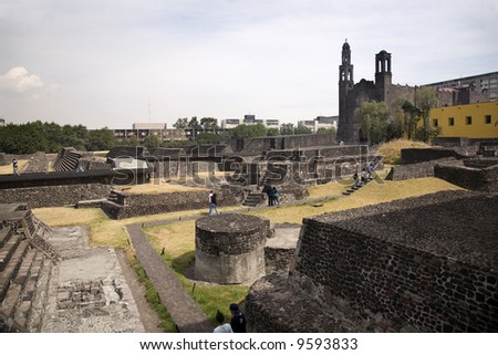 Plaza of the Three Cultures, Plaza de las Tres Culturas, Ancient Aztec City of Tlatelolco, where Aztecs staged last battle against Cortez in Mexico City, Mexico. - stock photo