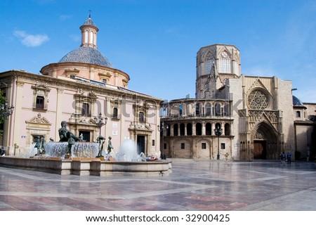Plaza of the Virgen in Valencia, Spain - stock photo