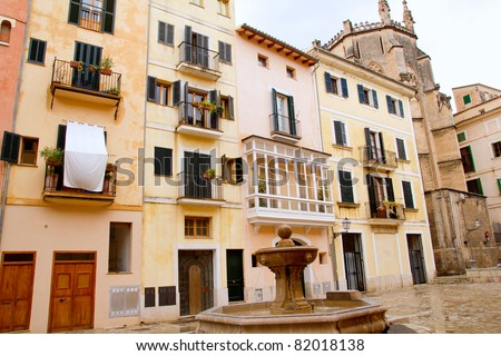 Plaza  sant Jeroni Majorca in Palma de Mallorca barrio Calatrava Balearic spain - stock photo