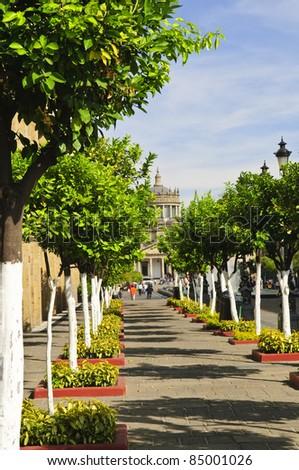 Plaza Tapatia leading to Hospicio Cabanas in historic Guadalajara center, Jalisco, Mexico - stock photo