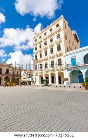 Plaza Vieja in Old Havana on a beautiful summer day - stock photo