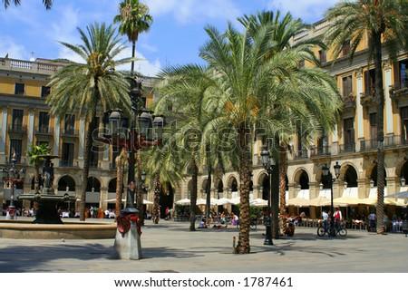 plaza with restaurants in Barcelona, Spain - stock photo
