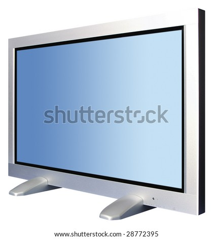 Plazma tv under angle of 60 and over white - stock photo