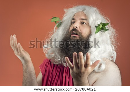 Pleading zeus god or jupiter throws his hands in the air - stock photo
