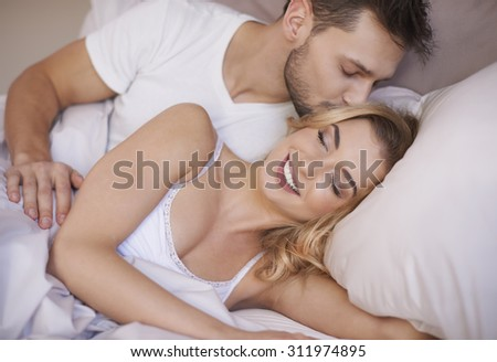 Pleasant morning in arms of my beloved - stock photo