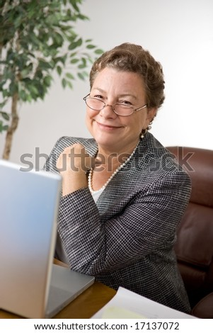 Pleasant senior executive woman at her desk - stock photo