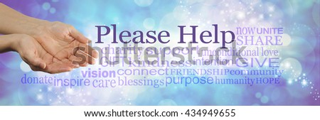 Please help our cause - campaign banner with female cupped hands on left and a word cloud surrounding 'PLEASE HELP' on a blue bokeh sparkling background - stock photo