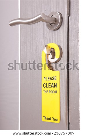 Please Make Up Room hotel sign Clean room - stock photo