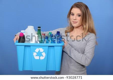 Please recycle. - stock photo