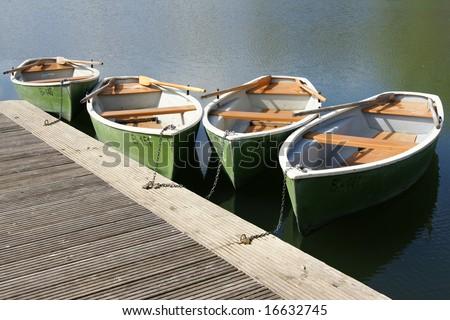 pleasure boats at lake - stock photo
