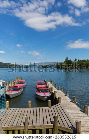 Pleasure boats Bowness on Windermere South Lakeland Cumbria UK on the banks of Lake Windermere  - stock photo