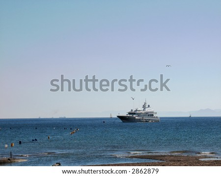 Pleasure yacht in the Red Sea near Eilat, Israel.