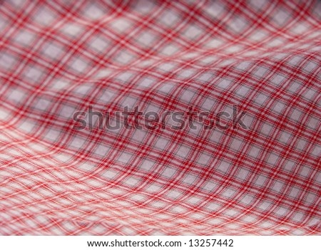 Pleated checkered fabric closeup - series - red. Good for background. More fabrics in my port. - stock photo