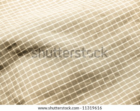 Pleated checkered fabric closeup - series - sepia, ivory, beige. Good for background. More fabrics in my port. - stock photo