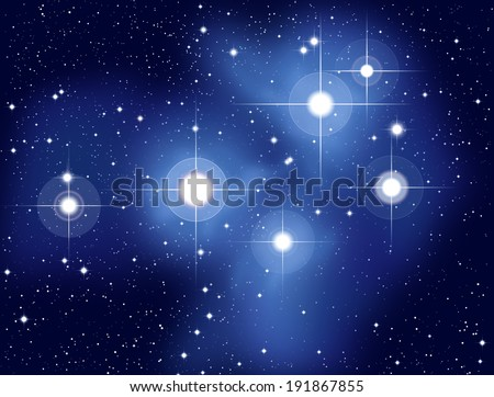 Pleiades - Illustration of the Pleiades, also called Seven Sisters, M45, an open star cluster located in the constellation of Taurus.