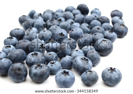 plenty of blueberries on white background  - stock photo