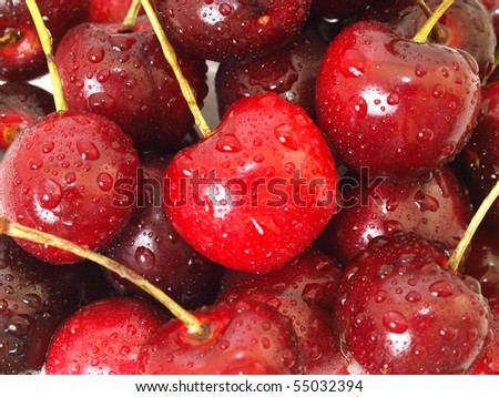 plenty of cherry close up shot - stock photo