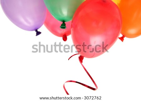 Plenty of colorful balloons on a white background - stock photo