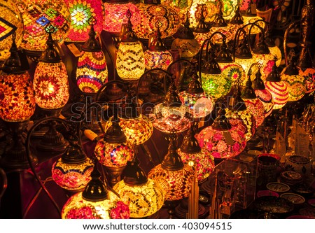 Plenty of decorative lamps displayed in the market. - stock photo