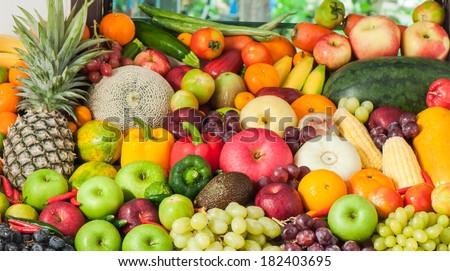 plenty of  fruits and vegetables - stock photo