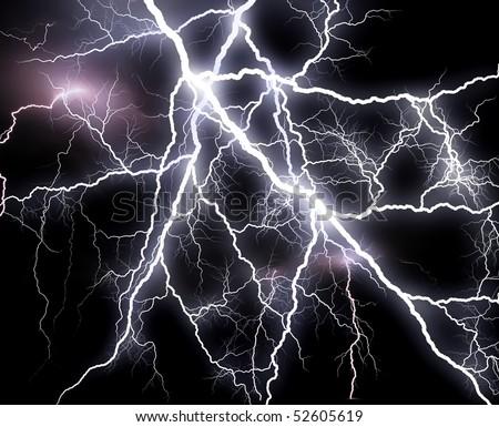 Plenty of  lightning - stock photo