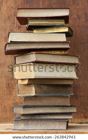 plenty of old books. - stock photo