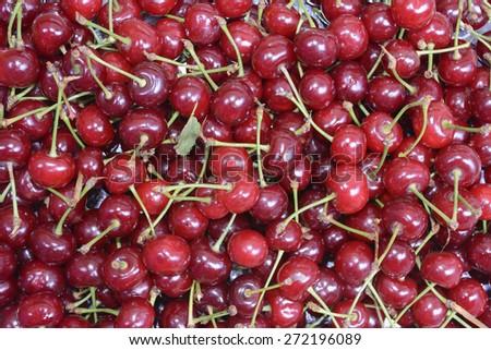 plenty of ripe of cherries - stock photo