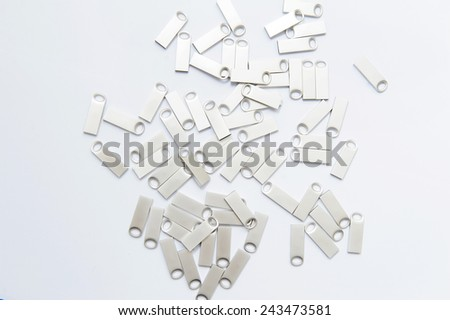 plenty of silver usb flashes with ring - stock photo
