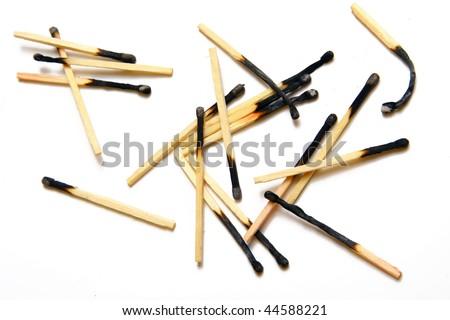 Plenty of the burned matches - stock photo