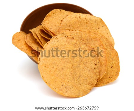 plenty of tortilla chip in bowl on white background  - stock photo