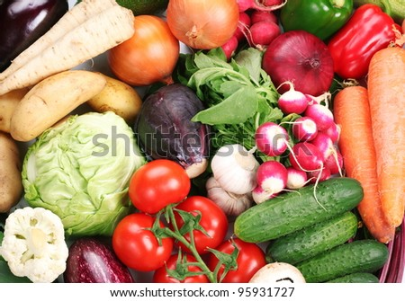 Plenty of vegetables occupy the entire frame. - stock photo